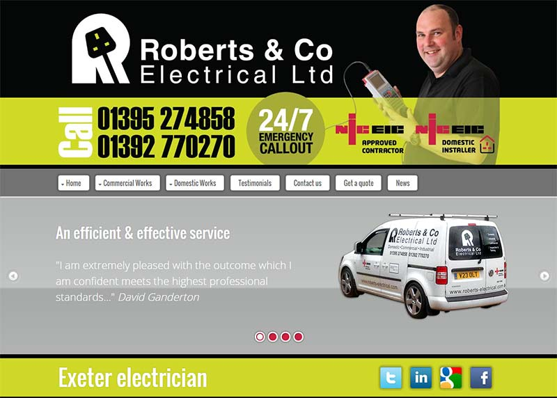 Robers Electrical - web design - Exeter