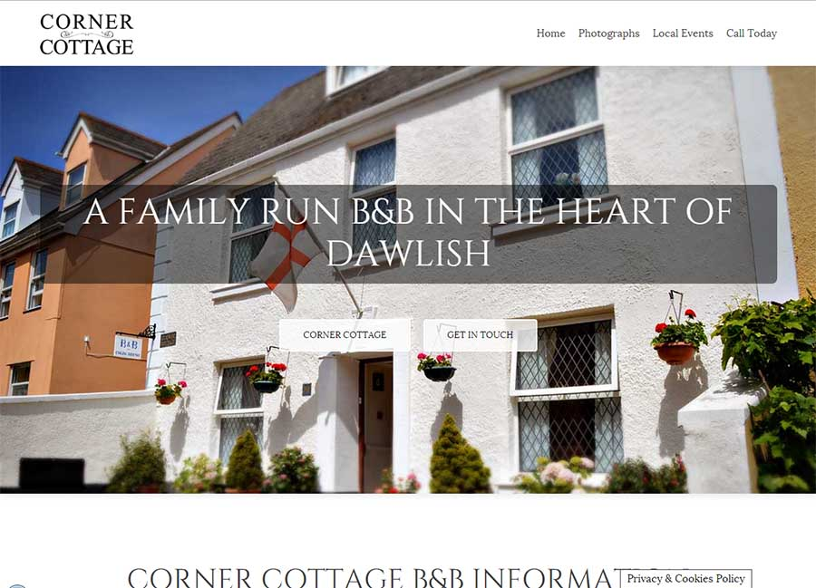 Corner Cottage B&B - web design - Dawlish