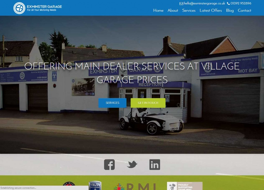 Exminster Garage - web design - Devon