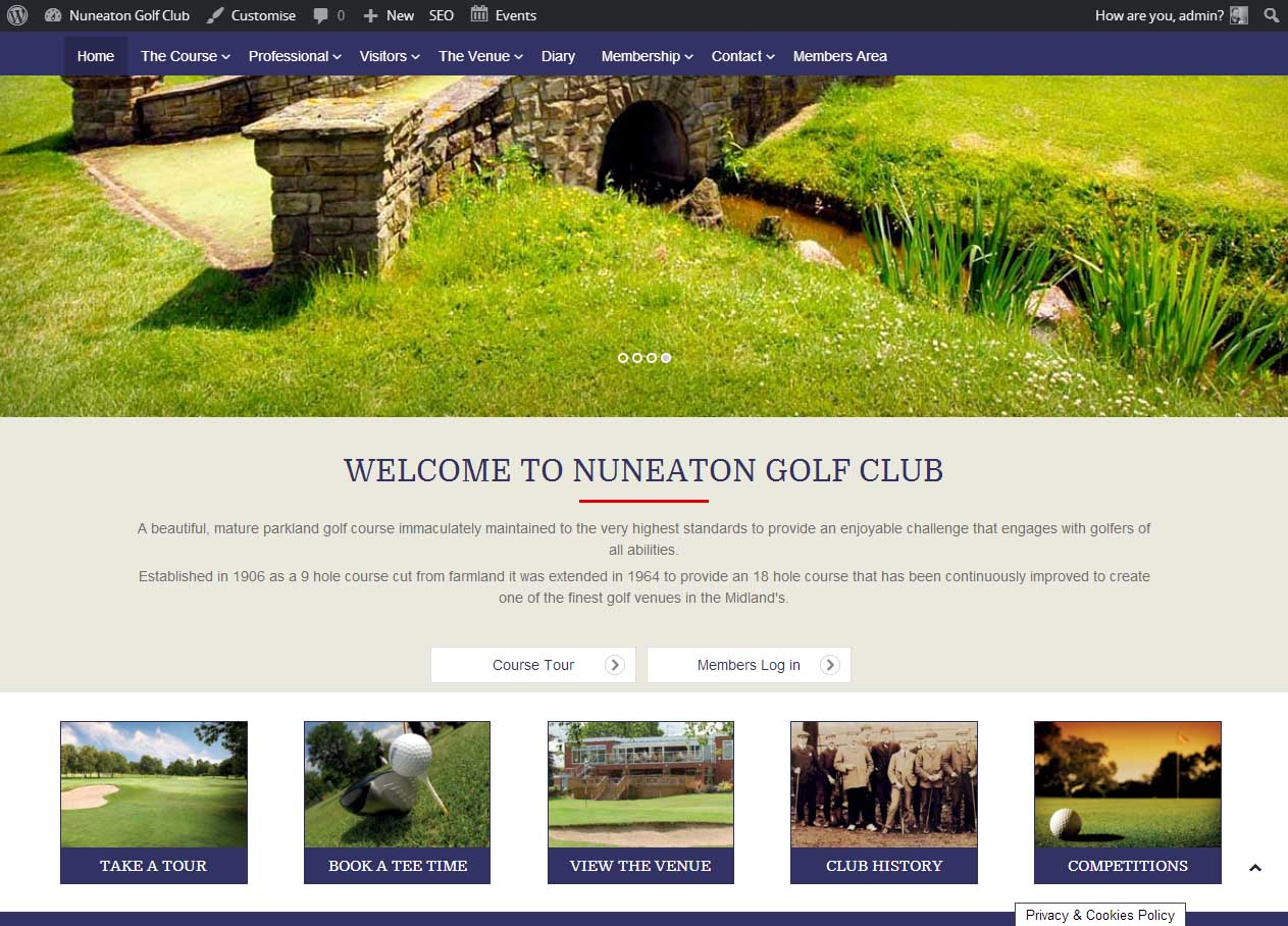 Nuneaton Golf Club - web design